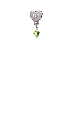 (August - Lime Green - 6mm Crystal Bicone Custom Year Stainless Steel Heart Bead Charm)
