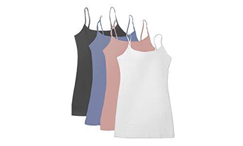 4 Pack Active Basic Women's Basic Tank Top (White/Dark Pink/Denim Blue/Charcoal)]()