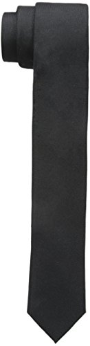 Calvin Klein Men's Skinny Oxford Solid Slim Tie, Black, One Size