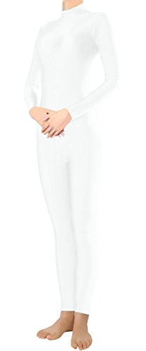 Marvoll Lycra Long Sleeve Unitard Bodysuit Dancewear for Kids and Adults (Large, White) (Superman Leotard)