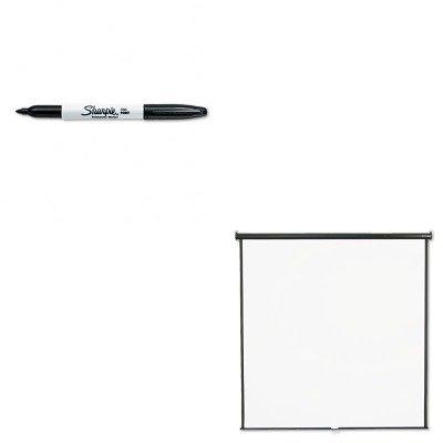 KITQRT684SSAN30001 - Value Kit - Quartet Wall or Ceiling Projection Screen (QRT684S) and Sharpie Permanent Marker (SAN30001)