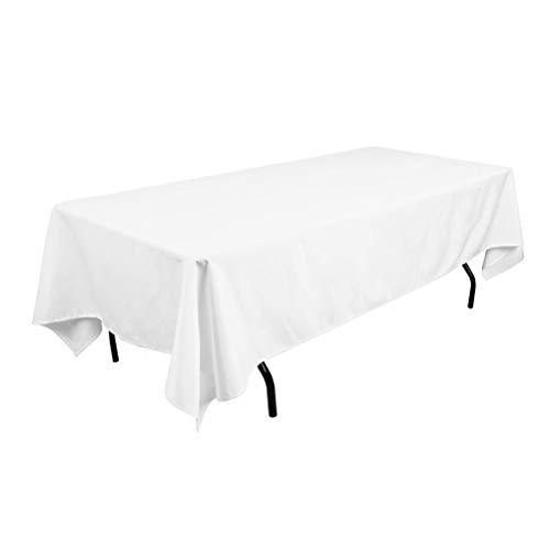 Surmente 60 x 102 Tablecloth for Rectangle Tables Polyester Oblong Table Cloth for Weddings, Banquets, or Restaurants (White)]()