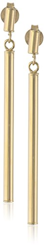 14k Yellow Gold Italian Linear Polished Drop Earrings
