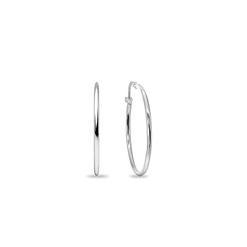 14K White Gold Small 15mm Round Unisex Click-Top Hoop Earrings (2/3