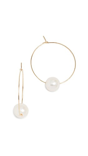 Cloverpost Women's Freshwater Cultured Pearl Around Hoop Earrings, Yellow Gold, One Size (Pearl Earrings Silver Vermeil Hook)