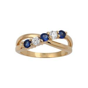 1001 Bijoux - Bague plaqué or croisé 5 pierres blanches et bleues