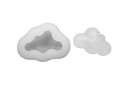 3D Cloud Fondant Silicone Mold for Chocolate, Candy, Candle, Soap, Bath Bomb, Lotion Bar, Plaster of Paris (Chocolate Molds Moons And Stars)