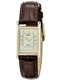 Seiko Ladies Solar Classic Watch - Gold-Tone - Champagne Dial - Brown Leather