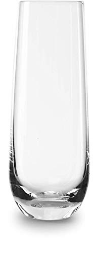 Circleware 45034/D Chantal Stemless Champagne Flute Glasses Set of 6, Elegant All-Purpose Wine Drinking Glassware Beverage Cups for Water, Juice, Beer, Liquor, Whiskey & Home Bar Decor, 10.5, Clear