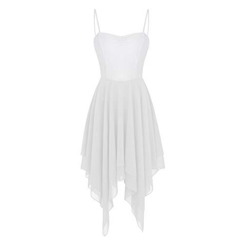 Traje Clásico Elástico Gimnasia Ballet de Mujer Gasa Ropa Maillot de de Falda Leotarto Blanco Vestido Agoky Baile Danza SqaWXZqw