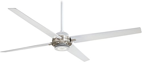 Minka-Aire F726-WHF BN Spectre 60 4-Blade LED Ceiling Fan Remote Control, Flat White and Brushed Nickel Finish with Flat White Blades