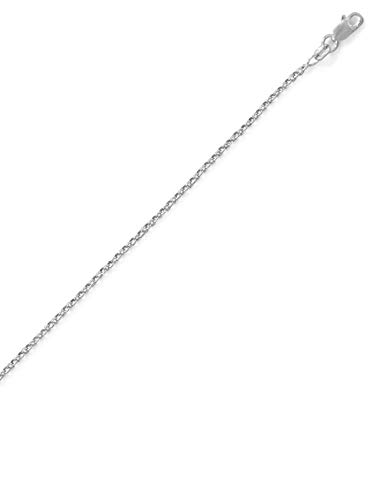 Rolo Chain 1.1mm Necklace Rhodium on Sterling Silver Nontarnish from AzureBella Jewelry