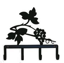 KH-157 Grapevine Silhouette Black Metal Key Holder by Village Wrought Iron