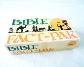 Rare 1975 Vintage Bible Learning Resource Game. The Bible Fact-Pak is an educational and fun time resource which will help you and your friends master Bible knowledge and gain doctrinal understanding. This Bible Trivia pack contains 576 carefully selected questions covering major persons, places, events, and teachings in the Bible. Instructional Guide included. (Event Resource Guide)