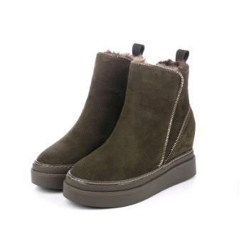 HOESCZS Stiefel Martin Winter Schneestiefel Weibliche Höhe Erhöhen Kurze Stiefel Weibliche Wilde Dicke Unterseite Reißverschluss Dicke Martin Stiefel