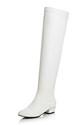 1TO9 Girls Square Heels Winkle Pinker Heighten Inside Imitated Leather Boots White g5QVlMwhvW