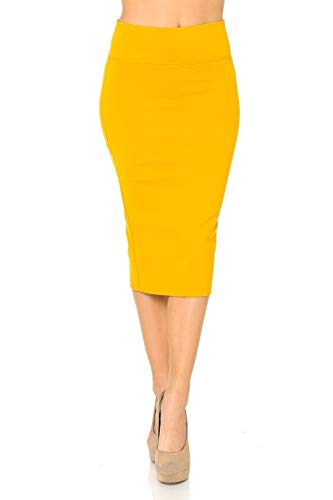 Auliné Collection Womens Solid Fitted High Waist Stretch Midi Ponte Pencil Skirt Mustard 2X