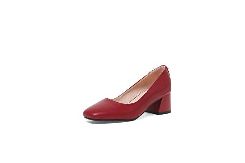 Shallow Head Red Shoes Women's Block Square Mouth Stwqnn6ZxE