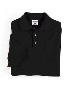 Jerzees 5.6 oz. 50/50 Blended Jersey Polo, Black, (50 Blended Jersey Polo)