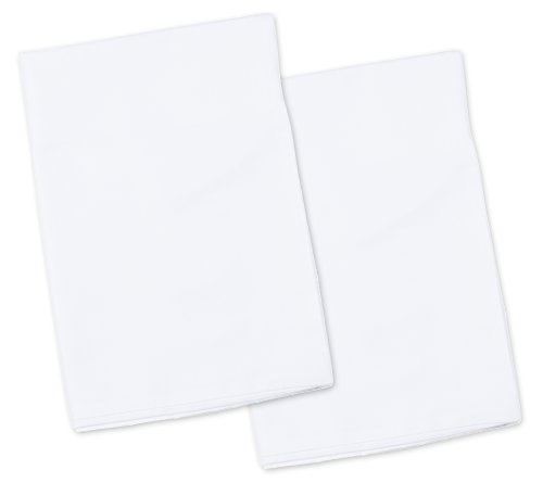 2 White Toddler Pillowcases - Envelope Style - For Pillows Sized 13x18 and 14x19 - 100% Cotton With Soft Sateen Weave - Machine Washable by Zadisonjaxx