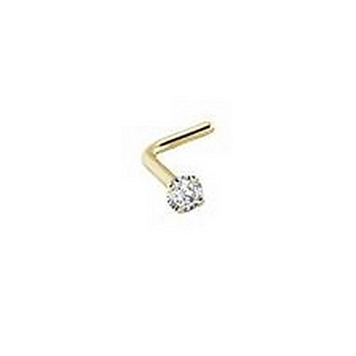 YD Jewelry - 14KT Solid Yellow Gold Nose Ring Stud Screw L Bend 2.5mm Clear CZ 22 Gauge - Solid Gold Hk