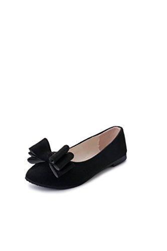 LEIT Delgada Plana Black someras Ocio Pajarita Bocas Plástico Mujer Señaló La Zapatos qHxwStqrf