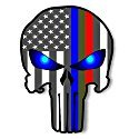 PUNISHER MILITARY STICKER, SUPPORT TROOPS, POLICE AND FIRST RESPONDERS Blue Green and Red stripe for cars trucks for honor and support of our officers & troops Window 4X6 inch BUY NOW -