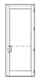CRL-U.S. Aluminum Storm Front Series DHS350A11 Hurricane Impact Medium Stile Single Door 36'' x 96'' Hinge Left Swing Out Clear Anodic