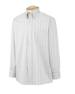 Van Heusen 56900 Mens Wri-Resistant Blended Pinpoint - Multi Pinstripe - - Collar Fused Down Button