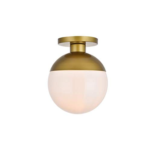 Living District Eclipse 1 Light Brass Flush Mount with Frosted White Glass (Eclipse Flush)