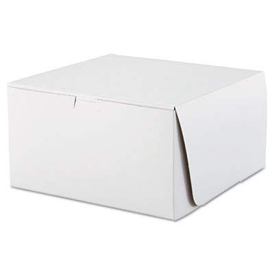 Southern Champion Tray 0977 Premium Clay Coated Kraft Paperboard White Non-Window Lock Corner Bakery Box, 10