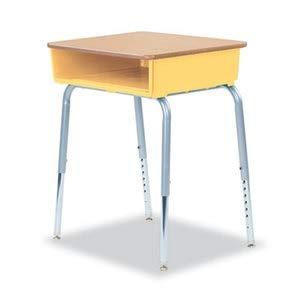 Virco 785 Open-Front Student Desk W/Colored Bookboxes, 24W X 18D, Squash, 2/Carton