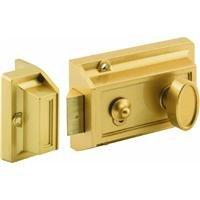 Rim Night Latch - Prime-Line Products U 9967 Night Latch and Locking Cylinder, Brass Painted Diecast