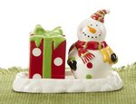 Delton Snowman Salt & Pepper Shakers with Tray