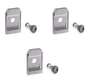 Rockwood 614V.26D Brass Door Knocker with Door Viewer, 2-1/8'' Width x 3'' Height, Satin Chrome Plated Finish (Тhrее Расk)