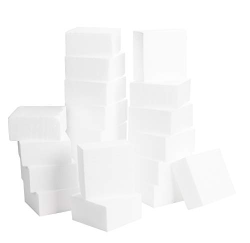 Four Flags Block - Craft Foam Block - 20-Pack Polystyrene Foam Square, Smooth Craft Bricks, Rectangle Faoms, for Sculpture, Modeling, DIY Arts and Crafts, Kids Class, Floral Arrangement, 4 x 4 x 2 Inches