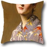 The Oil Painting William Merritt Chase - Girl In A Japanese Costume Pillowcover Of ,18 X 18 Inches / 45 By 45 Cm Decoration,gift For Play Room,dance Room,pub,indoor,gf,boy Friend (2 Sides)