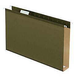 Pendaflex Extra Capacity Reinforced Hanging File Folders, 2'', Legal Size, Standard Green, 1/5 Cut, 25/BX (4153x2)