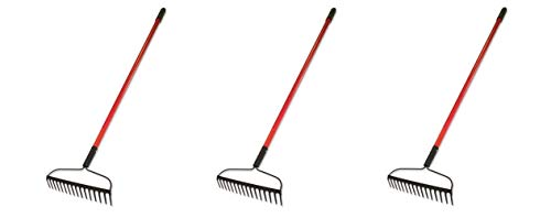 Bully Tools 92309 12-Gauge 16-Inch Bow Rake with Fiberglass Handle and 16 Steel Tines, 58-Inch (Pack of 3)