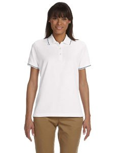 Devon & Jones Ladies' Pima Pique Short-Sleeve Tipped Polo, White/Navy, - Pima Polo Pique Tipped