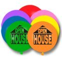 Large 17 inch balloons OPEN HOUSE print Eye catching advertising for Real Estate Agents. 50 Multi color balloons per bag.