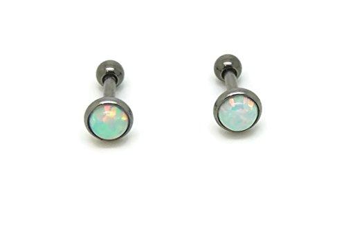 Bedrock Jewelry Opal 5 mm, Titanium Hypoallergenic Bezel Stud Earrings, For Sensitive Ears (Pale White)