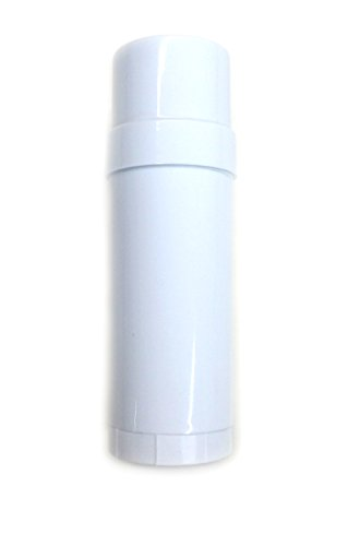 (24) Empty Clear Plastic Deodorant Containers - 2.2 Oz Cylinders (White)
