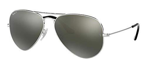 (Ray Ban RB3025 003/59 58M Silver/Polarized Green Silver Mirror Aviator)
