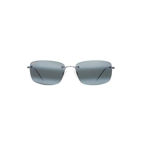 (Maui Jim Frigate 716-06 | Polarized Gunmetal Blue with Black Sleeve Rimless Frame Sunglasses, Neutral Grey Lenses, with with Patented PolarizedPlus2 Lens Technology)