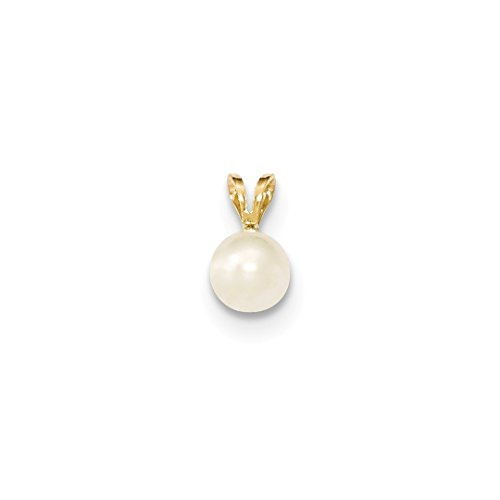 ICE CARATS 14kt Yellow Gold 7mm Round White Freshwater Cultured Pearl Pendant Charm Necklace Fine Jewelry Ideal Gifts For Women Gift Set From Heart Pendant 14kt Yellow Gold Jewelry