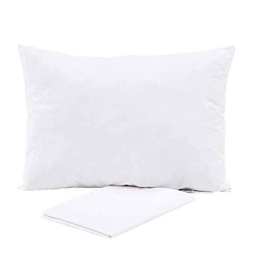 Eterish Baby Toddler Pillow 13 x 18 Inches Natural Kids Bedding Small Pillow with 100% Cotton Pillowcase Cover (14x20 inches) Ideal for Daycare, Baby Cribs, Toddler beds and car Rides