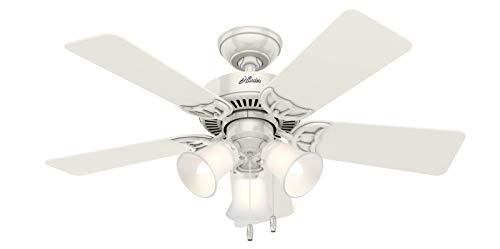 Hunter Fan Company Hunter 51010 Southern Breeze 42-inch Ceiling Fan with Five Bleached Oak Blades and Frosted Glass…
