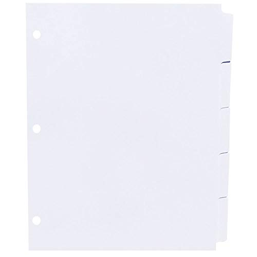 AMZfiling Never-Jam Custom Blank Copier Tabs- 5 Tab Dividers, White, 1/5 Cut, Straight Collated, 3 Hole Punched (1000/Carton)