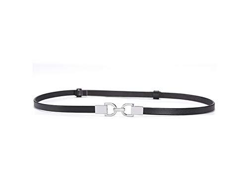 ATTOUPAN Creativo Cinturones de Cuero Fino Ajustable de Las Mujeres se Visten cinturón de Cintura Decorativa (Negro)